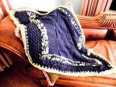 College Blanket.. Heirloom Cobalt Fern Green by nouveauvintageltd
