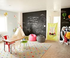 mix and match chairs and chalkboard wall in the playroom