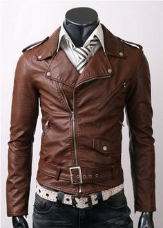 Men's Brown Stylish Slim-Fit Leather Jacket    Jacket Features:   Outfit type: Genuine And Faux Leather Jacket Gender: Male Color: Brown Front: Front Zip Closure Collar: Shirt Style Collar Lining: Viscose Lining Cuffs: Rib-Knit Cuffs Pockets: Two Zip pockets