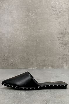The Laetitia Black Studded Loafer Slides are the definition of classy meets cool! Soft vegan leather is shaped to an easy-to-wear slide silhouette with a pointed toe, and shiny silver studs around the outsole. Studded Loafers, Leather Loafers, Wedding Flats, Lace Up Flats, Vegan Shoes, Shoe Shop, Black Flats, Womens Flats, Vegan Leather