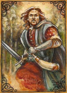 Boromir runs to the Hobbit's aid (The Lord of the Rings) Tolkien Hobbit, Hobbit Art, The Hobbit, Lord Of The Rings Tattoo, John Howe, Middle Earth, New Art, Character Art, Fantasy Art