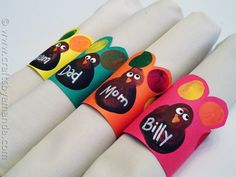 Fingerprint Turkey Napkin Rings - fun idea for kids to help with Thanksgiving. Find the how-tos at Crafts by Amanda.