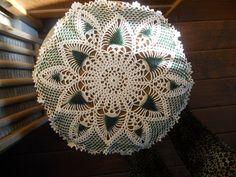 Doily green star beaded ivory pattern fancy crochet handmade