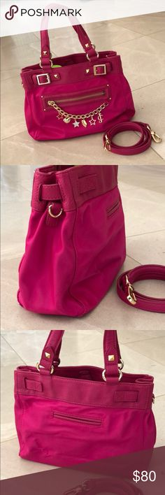 Juicy Couture Hobo / Crossbody Used two short times. Overall appearance looks very new, perfect &clean interior. The minor markings occurred mostly from storing with other bags. No tears, just some minor markings such as those shown in last few photos. Right end of zipper has turned color.  Please ask questions before purchase. Super cute bag! My girl just never got to carry it more than those 2 short shopping trips.  PVC & pebbled leather. ❤️ made so beautifully inside & outside   Approx…