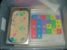 Really great sensory game! Small alphabet puzzle from Dollar Tree, letters buried in rice (or maybe water beads for sensory fun?), then have child find and place in correct spot--- trace letters with finger for extra learning! Alphabet Activities, Sensory Activities, Craft Activities For Kids, Educational Activities, Learning Activities, Preschool Activities, Projects For Kids, Sensory Play, Sensory Bins