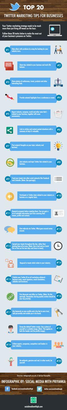 Top 20 Twitter Marketing Tips for businesses.  #Twittermarketing #socialmediamerketing
