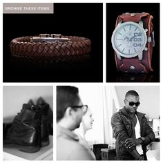 "Get the Movie Star look ""Layer your wrists with multiple shades & styles of brown leather cuffs & watches"" - Craig Jacobson Leather Cuffs, Brown Leather, Mens Trends, Diamond Studs, Wood Watch, Movie Stars, Latest Trends, Shades, Watches"