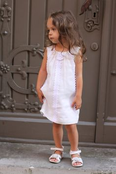 This would look good with the bridesmaid's too. Girls summer dress D9 flower girl linen white by Maliposhaclothes, $61.50