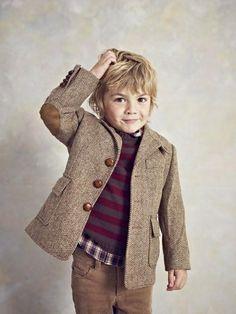 camel norfolk jacket, just adorable. Fashion Kids, Fashion Fall, Fashion Men, Cute Kids, Cute Babies, Norfolk Jacket, Blazer For Boys, Dapper Gentleman, Stylish Kids