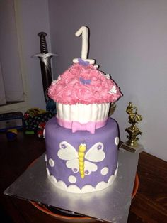 Two tier 1st birthday cake