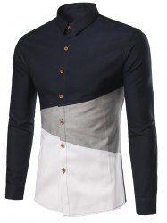 Color Block Turn-Down Collar Plus Size Shirt - Cadetblue - M Mens Casual Dress Outfits, Stylish Mens Outfits, Stylish Shirts, Men Dress, African Shirts For Men, African Clothing For Men, Mens Clothing Styles, Nigerian Men Fashion, Indian Men Fashion
