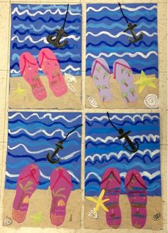 Flip flops on the beach-2nd grade-tints-collage-Art with Mr. Giannetto blog