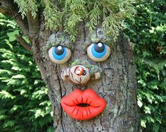 Mothers day gifts outdoor sculptures statues, yard art, funny faces on trees, tree decorations Tree Face. Outdoor Sculpture, Outdoor Art, Outdoor Decor, Dame Nature, Tree People, Tree Faces, Unique Trees, Parcs, Garden Statues