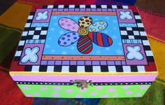 Painted Chairs, Painted Boxes, Hand Painted Furniture, Funky Furniture, Ceramic Boxes, Wooden Boxes, Tole Painting, Painting On Wood, Decoupage Art