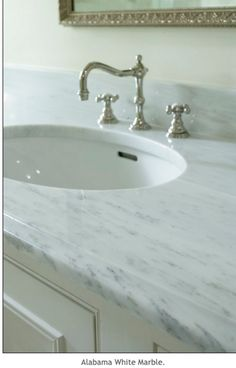 Alabama white marble, vintage look faucet