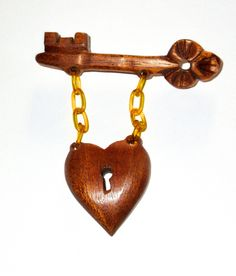 Vintage wood and celluloid or bakelite chain heart and key pin brooch 40s era jewelry by sweetalicelovesyou on Etsy