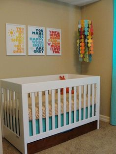 Gender Neutral Baby Room (gray not tan) <3 LOVE THE YOU ARE MY SUNSHINE SIGNS! :)