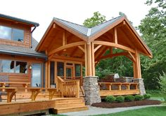 Great timberframe patio; three season screened porch behind