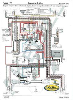 Elétrica VW AR*: Diagrama completo fusca 77 com caixa fusíveis de 12 polos, dínamo, chave de seta e limpador conjugados.