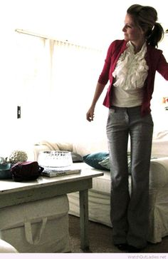Grey pants, white shirt and burgundy cardi