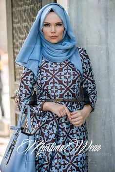 Muslima Wear Blue Choco Dress