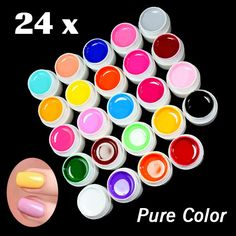 "<ul>	<li>Item Type:Nail Gel</li>	<li><span class=""brand"">Brand Name:</span>Brand New</li>	<li>Type:UV Gel</li>	<li>Quantity:24 Pure color</li>	<li>Ingredient:Gel</li>	<li>NET WT:0.25OZ (8ml)</li>	<li>Model Number:HH0593</li></ul>"