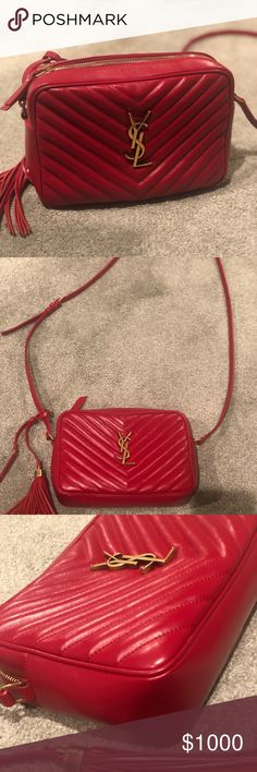 d1d738052a6f4 YSL Lou Camera Bag Red YSL purse Crossbody Matelasse Leather Gold accents  Have dust bag as