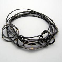 nichole collins, oxidized sterling silver and 18kt gold