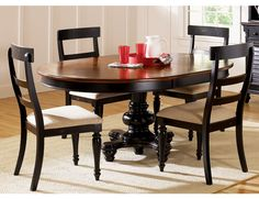 two tone round table with upholstered chairs | Dining Room Table Pedestal