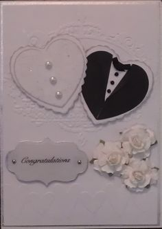 Wedding Card, Idea Found On Pinterest, Used TH Embossing Folders And Die,  Recollections