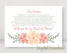 Sister Will You Be My MAID OF HONOR Proposal by PrintablePrints