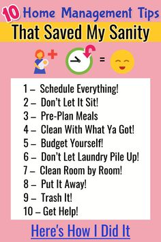 Mom Advice for Your Household Notebook or Printable Home Management Binder These 10 simple home management tips are SO helpful for busy overworked moms stay at home moms.