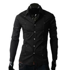 ce45a3d6171 Mens Dress Shirts cotton long sleeved slim Shirts rolloff White Blue Black  Wine red M   L   XL