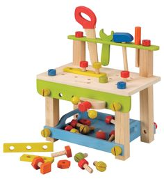The amazing wooden EverEarth Large Work Bench with Tools is a fantastic gift for toddlers and boys! Boost your child's imagination with this wooden role-play toy!  Teach your child about different jobs and how tools can be used to make things. Great for all kids imaginations and motor skills. This set includes a saw, wrench, hammer, easel, nuts & bolts, storage compartment, vice and other removable parts. #alltotstreasures #everearth #woodentoys #woodentoolbench #kidstoolbench #tools