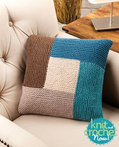 Geometric Pillow (Knit and Crochet Now! Season Episode Geometric Pillow (Knit and Crochet Now! Season Episode Geometric Pillow (Knit and Crochet Now! Season Episode Geometric Pillow (Knit a. Knit And Crochet Now, Crochet Home, Free Crochet, Ravelry Crochet, Knitted Cushion Covers, Knitted Cushions, Loom Knitting, Knitting Patterns Free, Crochet Patterns