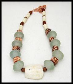 "TRIBAL AFRICA - Handmade African Glass & Bone Beads - African ""Hippo Tooth"" Focal - 1 of a Kind Necklace by sandrawebsterjewelry on Etsy"