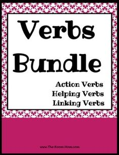 Action, Linking, and Helping Verbs activities and practice pages, worksheets