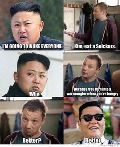 Kim Jong Un eat a snickers