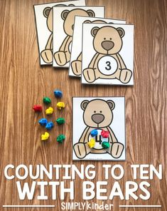 To Ten With Bears Counting To Ten With Bears! Simple preschool and kindergarten counting activity!Counting To Ten With Bears! Simple preschool and kindergarten counting activity! Bear Activities Preschool, Bear Theme Preschool, Numbers Preschool, Preschool Learning, In Kindergarten, Preschool Activities, Teaching Numbers, Counting Bears, Goldilocks And The Three Bears