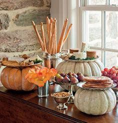 Great idea for displaying a fall harvest themed Thanksgiving or holiday buffet - use pumpkins for hight. Fall Halloween, Happy Halloween, Thanksgiving Recipes, You Can Do, Dollar Stores, Autumnal, Fall Decor, Thrift Stores