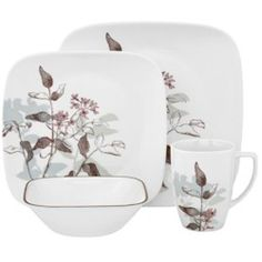 Corelle Square Dinnerware Sets Clearance | CORELLE Twilight Grove 16-Pc Dinnerware Set [Square]