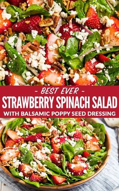 The best ever Spinach Strawberry Salad with Balsamic Poppyseed Dressing, pecans, and feta or goat cheese. This beautiful, healthy salad is always a hit and perfect for parties. Keep it vegetarian or add chicken to make it a main event! via healthy salads Chicken Salad Recipes, Healthy Salad Recipes, Spinach Salad Recipes, Healthy Salad For Lunch, Spinach Goat Cheese Salad, Great Salad Recipes, Summer Salad Recipes, Spinach Salad With Strawberries, Spinach Strawberry Salad Dressing