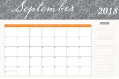 Cute September 2018 Calendar Monthly Printable Table Monthly Calendars, Blank Calendar Template, Printable Calendar Template, Calendar 2018, Free Printables, September, Holidays, Words, Holidays Events