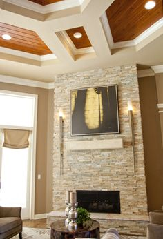 Fantastic Fireplace and ceiling! Fireplace Redo, Living Room With Fireplace, Fireplace Ideas, Living Room Remodel, Home Living Room, Living Room Decor, Home Design Decor, House Design, Home Decor