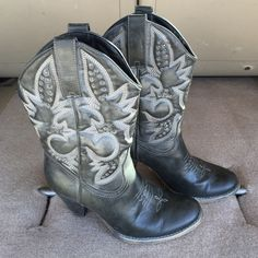 Gray Cowboy Boots with heel by Very Volatile Very Volatile cowboy style boots with heels, Gray with cream stitching and gray embellishments, excellent condition, worn once, size 10 Volatile Shoes Heeled Boots