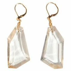 """Striking and sophisticated, these chic earrings showcase geometric crystal drops for a stylish finishing touch.   Product: Pair of earringsConstruction Material: Crystal and 24-karat gold finished brassColor: Gold and clearFeatures: Handmade in the USADimensions: 2"""" H x 1"""" W x .25"""" D"""