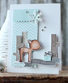 Lawn Fawn - Into the Woods _ Debby featured our Into the Woods deer on her beautiful Christmas card! _ limedoodleCASEcutedeer