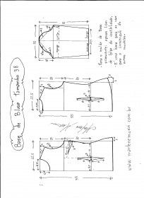 Esquema de modelagem de Base de Blusa tamanho 38.