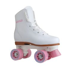 Roll your way around the rink like a true roller derby queen in these pink and white roller skates by Chicago Skates. Featuring speed laces and eyelets, these skates stay secure as you try out your la