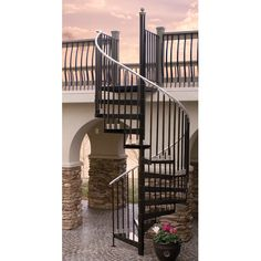 Stone Spiral Staircase | ... Spiral Staircase Along With Cream Stone Veneer House Pillar And